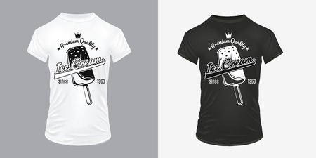 Vintage ice cream prints template with inscriptions popsicle on white and black shirts isolated vector illustration