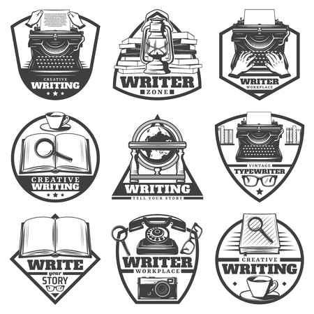 Vintage monochrome writer labels set with typewriter, lamp, books, magnifier, coffee, globe, eyeglasses, camera, telephone isolated vector illustration.