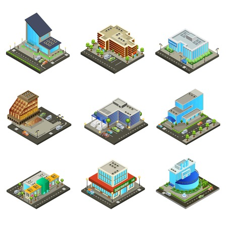 Isometric modern supermarket buildings set of different exterior and architecture with parking and trees isolated vector illustration