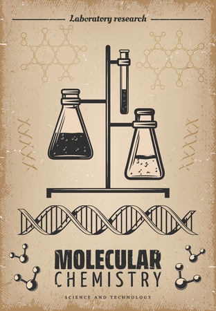 Vintage laboratory research poster with glass tubes flasks dna and molecular structure vector illustration 일러스트