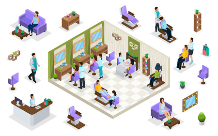Isometric people in beauty salon concept Standard-Bild - 100712249