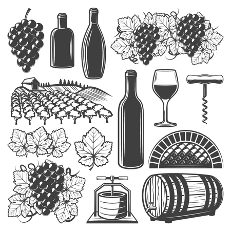 Vintage wine elements set with wineglass wooden barrel bottles vineyard grape bunches corkscrew isolated vector illustration