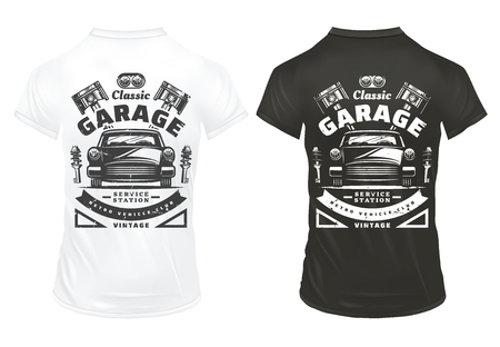 Vintage classic cars garage service prints with inscriptions retro automobile headlights engine pistons shock absorbers on shirts isolated vector illustration  Illustration