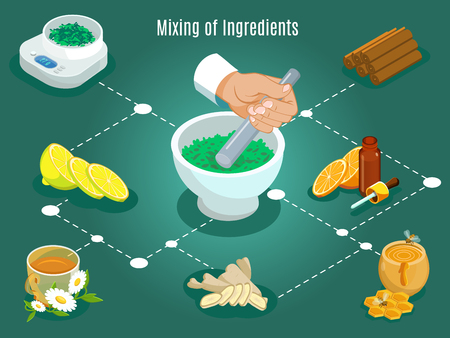 Isomatric ayurvedic healing concept with weighing and mixing of lemon herbs orange honey cinnamon flowers ingredients isolated vector illustration