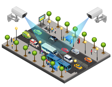 Isometric city security system concept with cctv cameras for monitoring and surveillance on road isolated vector illustration
