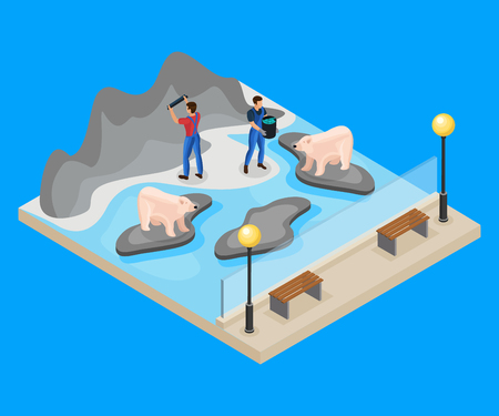 Isometric workers in zoo concept with zookeepers feeding and caring of polar bears isolated vector illustration