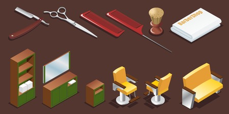 Isometric barber shop elements set with razor combs scissors shaving brush towel and interior furniture isolated vector illustration