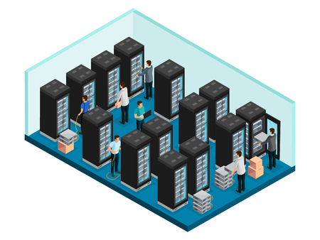 Isometric datacenter concept with engineers in data security server room for equipment repairing and maintenance isolated vector illustration    Illustration