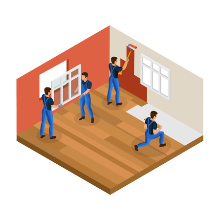 Isometric home renovation concept with professional workers installing window painting wall and repair floor in room isolated vector illustration