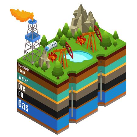 Concepto de extracción de gas isométrica con camión de plataforma de perforación y diferentes capas de suelo aislado ilustración vectorial