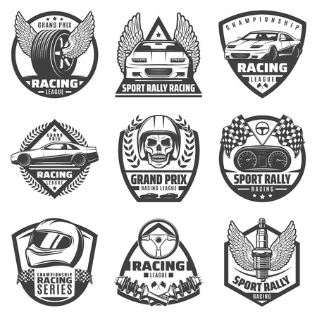 Vintage monochrome car racing labels set with fast vehicles automobile parts skull helmet finish flags isolated vector illustration Illustration
