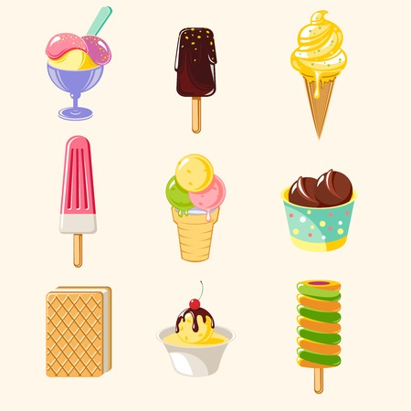 Cartoon colorful tasty ice creams set with different flavors sundae and popsicle isolated vector illustration