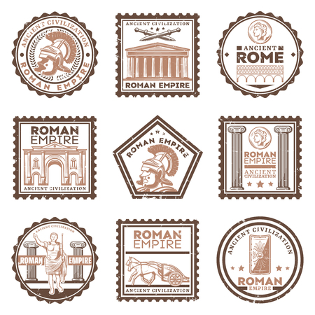 Vintage ancient rome civilization stamps set with inscriptions gladiator swords shield Triumphal Arch Pantheon chariot roman emperor columns isolated vector illustration
