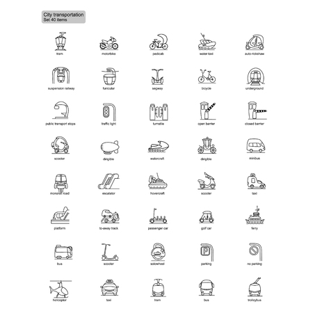 Outline transportation icons set with water air ground transport and vehicles isolated vector illustration