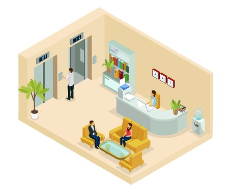 Isometric office hall concept with secretary people sitting on sofa bookshelf clocks water cooler elevators isolated vector illustration