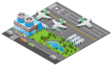 Isometric airport template with building airplanes boarding process buses ladder truck runway cars and park vector illustration