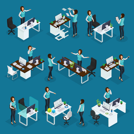 Isometric business woman at work collection of businesswoman with different emotions in various situations isolated vector illustration Çizim