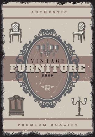Vintage furniture shop poster with inscription retro chandelier candlestick chairs mirror cabinet vector illustration Illustration
