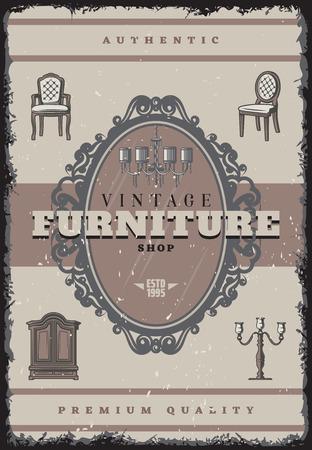 Vintage furniture shop poster with inscription retro chandelier candlestick chairs mirror cabinet vector illustration Ilustração