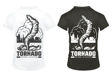 Vintage natural disaster prints template with inscription tornado damaged city on black and white shirts.