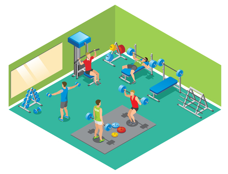 Isometric fitness concept with strong people lifting dumbbells and barbells in gym.