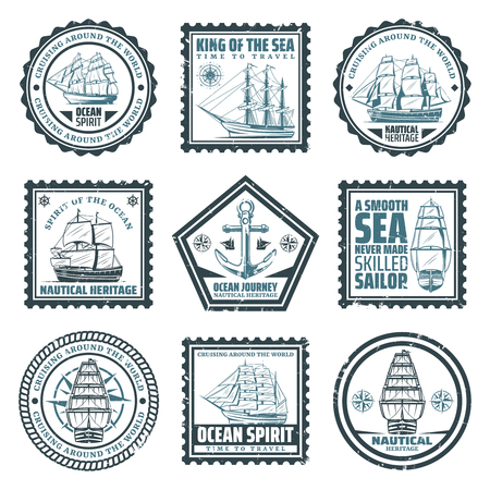 Vintage ships and vessels stamps set with inscriptions boats navigational compass and anchor isolated vector illustration Illustration