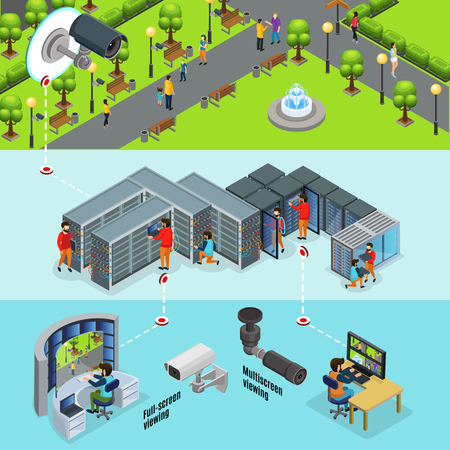 Isometric outdoor surveillance system horizontal banners with cctv camera in park transmits signal to datacenter and screens vector illustration