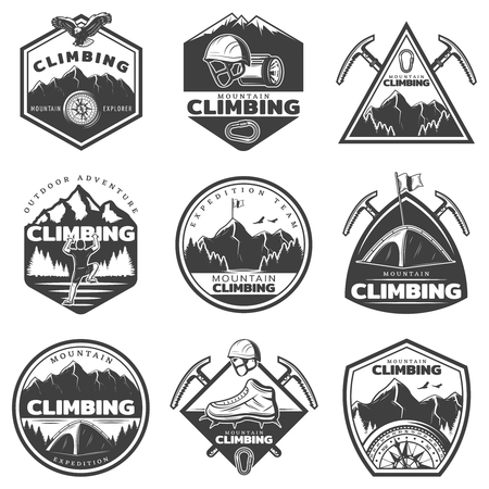 Vintage monochrome mountain climbing labels set with climber professional equipment tools and nature landscape isolated vector illustration
