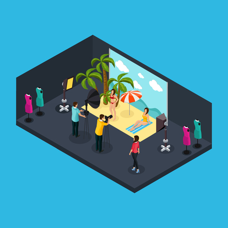 Isometric photographing process concept with professional photographer making photo of female models on tropical beach in studio isolated vector illustration Ilustração