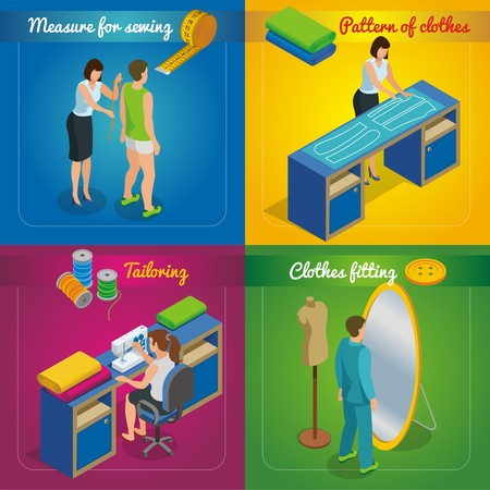 Isometric tailor shop concept with woman taking measurements from client pattern of clothes sewing process garment fitting vector illustration