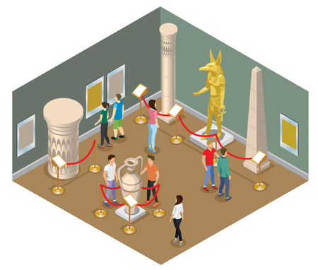 Isometric museum hall concept with visitors view pharaoh statue pictures ancient amphora column and historical buildings isolated vector illustration  Illustration
