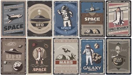 Vintage colored space posters with spaceships ufo planets astronauts asteroids Mars colonization and research isolated vector illustration Illustration