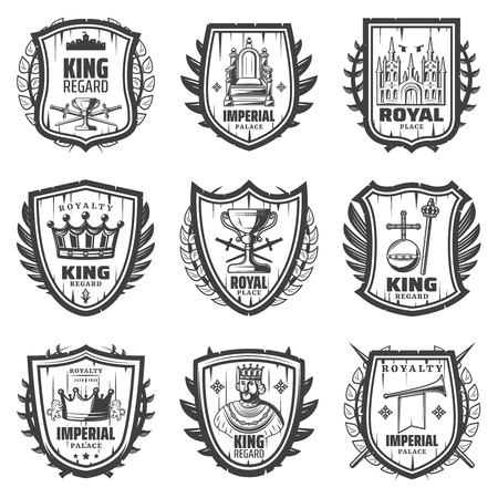 Vintage royal coat of arms set with king sword palace crown monarchy orb scepter trumpet throne regard isolated vector illustration