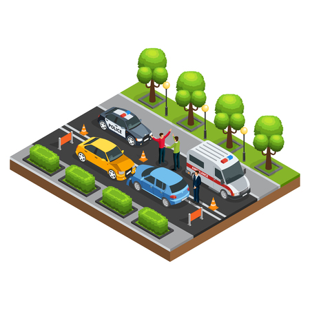 Isometric car accident concept with automobile crash arguing drivers police and ambulance vehicles on road isolated vector illustration