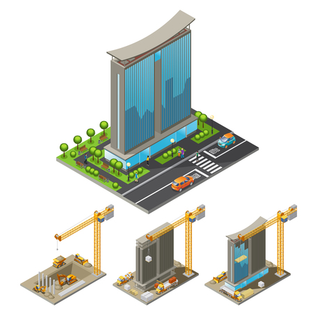 Isometric building construction process concept with different steps of skyscraper erection cranes and industrial transport isolated vector illustration Stock Illustratie