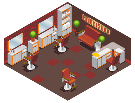 Isometric barber shop interior concept with tables chairs sofa plants mirrors towels and professional accessories isolated vector illustration Ilustrace