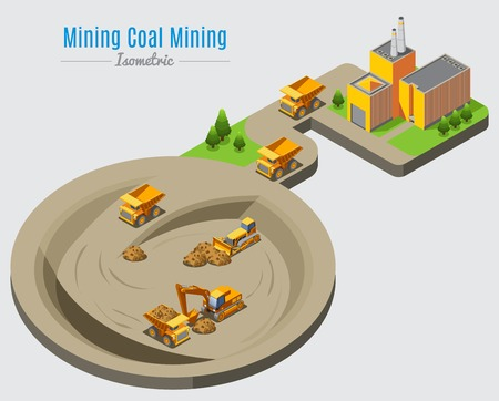 Isometric coal mining concept with factory and dump trucks bulldozer excavator working in quarry isolated vector illustration