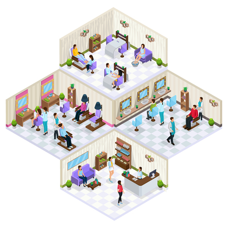 Isometric beauty salon interior concept with furniture people on skin hair care and cosmetology procedures isolated vector illustration Stock Illustratie