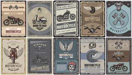 Vintage colored motorcycle posters set with classic motorbikes scooter moto parts vector illustration