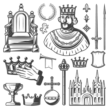 Vintage royal elements set with king throne laurel wreath sword lance crown trumpet monarchy orb castle shield scepter cup isolated vector illustration Illustration