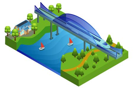 Isometric railway bridge concept with modern comfortable passenger train moving over river vector illustration