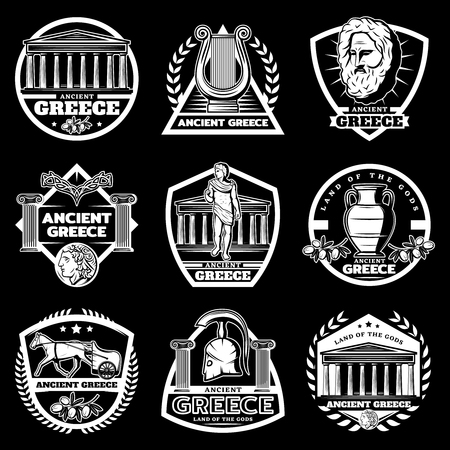 Vintage ancient Greece labels set with greek Acropolis historical objects and elements on black background isolated vector illustration Illustration