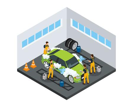 Isometrisches Autowaschdienstkonzept mit Arbeitern, die Automobil unter Verwendung von Schwämmen und Spezialwerkzeugen in der isolierten Vektorillustration der Garage waschen