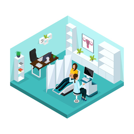 Isometric pregnancy medical examination concept with pregnant woman visiting doctor for ultrasound scan in hospital isolated vector illustration