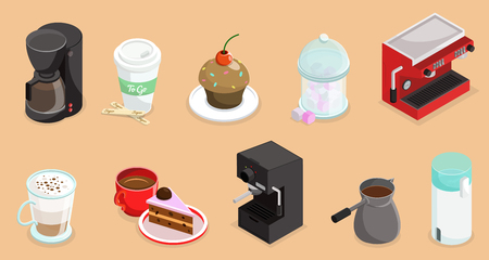 Isometric coffee elements set with cake cupcake coffee makers turk and cups of hot drinks isolated vector illustration