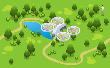 Isometric drone shooting video concept with quadrocopter flying over park vector illustration
