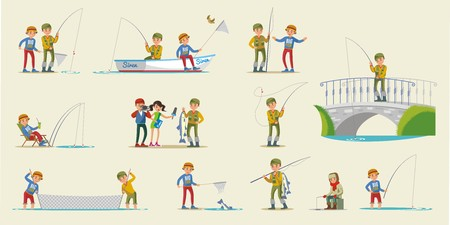 Colorful fishing elements collection with fishermen using various equipment tools in different situations isolated vector illustration