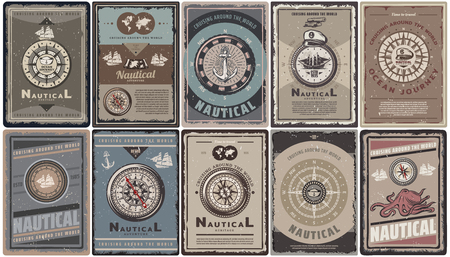 Vintage colored nautical brochures set with text different navigational compasses anchors ships map captain hat octopus isolated vector illustration Vectores
