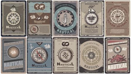 Vintage kolorowe broszury morskie zestaw z tekstem różne kompasy nawigacyjne kotwice statki mapa kapelusz kapitana ośmiornica na białym tle ilustracji wektorowych