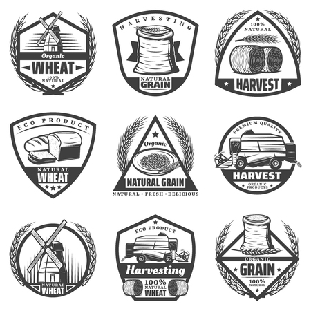 Vintage monochrome harvesting labels set with wheat ears flour wreathes hay bales windmill baking products harvester isolated vector illustration